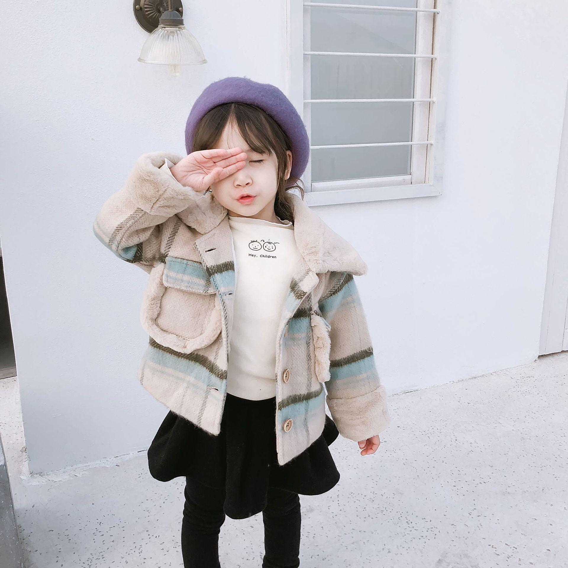 91e324a092 2019 Winter New Arrival korean style colorful plaid pattern fashion  all-match thickened jacket for cute sweet baby girls