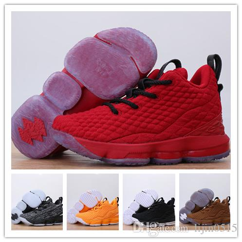 brand new 341e6 9f504 New 2019 Luxury designer Lebron 15 air cushion Black Volt youth boy girl  Basketball Shoes James 15 Sneakers XV kids Children Sports Shoes