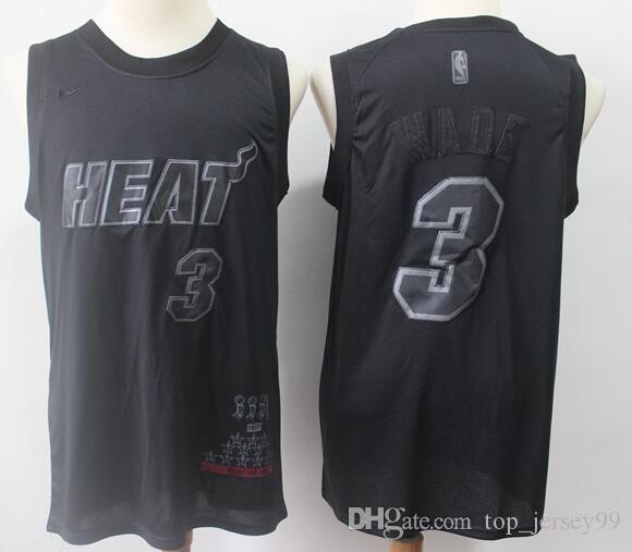 online retailer 8d5e4 ee7a1 2019 Season Miami Men Heat MVP Jersey Dwyane Wade Black Honorary Edition  Jerseys Free shipping