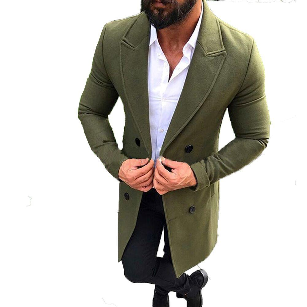 c85c9bbdc Men's New Winter Wool Coat Men Autumn Winter Trench Long Outwear Button  Smart Overcoat Coats Abrigo Hombre Largo Erkek Cocuk 5