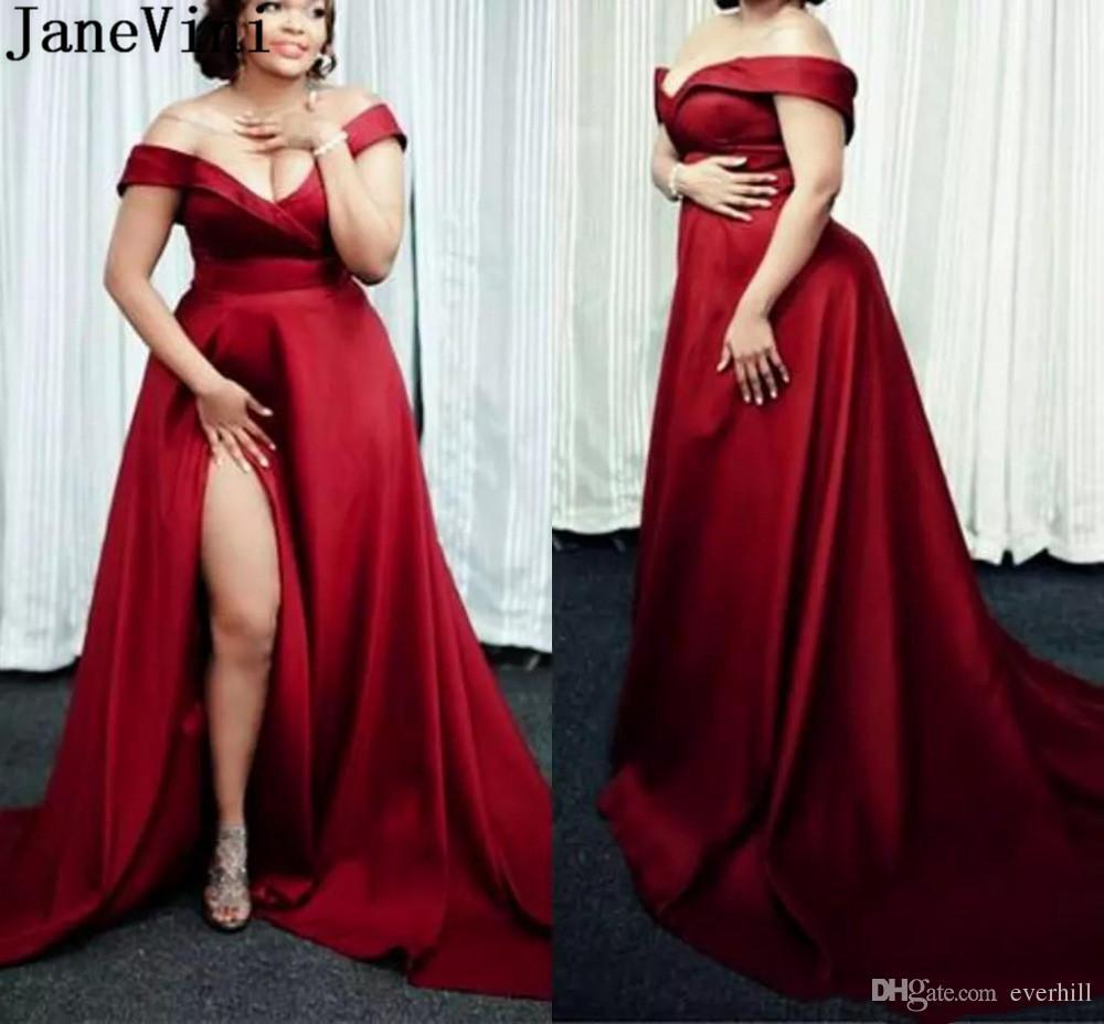 475f526885 JaneVini Plus Size Women Evening Gown Arabic Burgundy Satin Long Evening  Dresses Sexy High Split Off Shoulder Formal Party Wear 2019