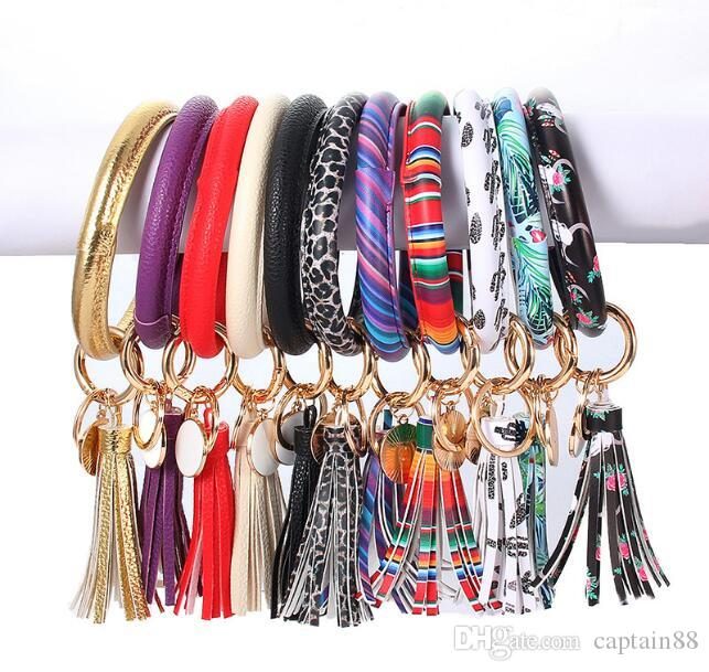 Leather Keychain Wrap Tassels Bracelets Key Ring Leopard Print Chain Wristband Sunflower Drip Oil Bangle Keychain Party Gift