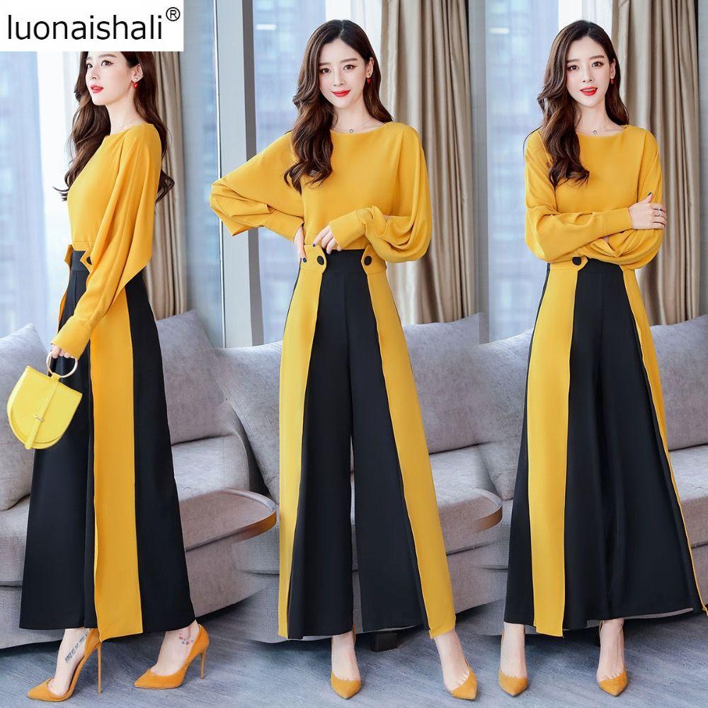 244dd5a626 Vogue Design OL Two Piece Suit Set Women Batwing Long Sleeves Blouse Women  High-Waist Wide-leg Pants Outfits C129
