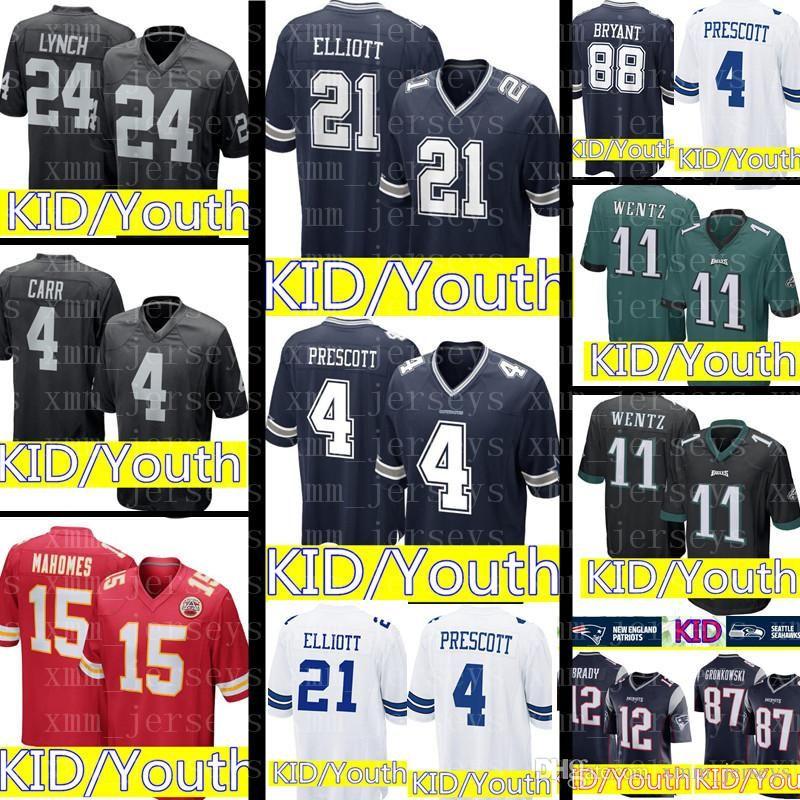 2019 KID Dallas Cowboys 21 Ezekiel Elliott 4 Dak Prescott Jersey Youth KID  Philadelphia Eagles 11 Carson Wentz Raiders 24 Marshawn Lynch Jerseys From  ... efaf433d7
