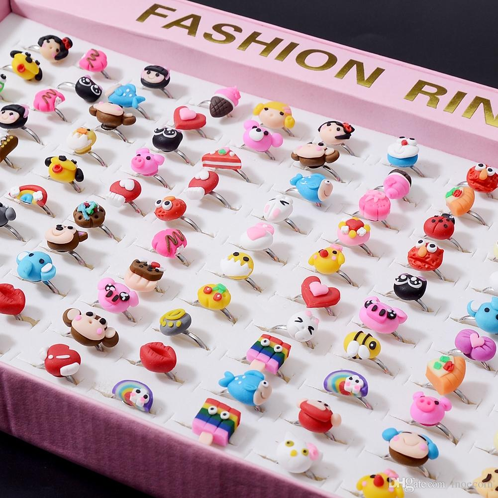 20Pcs/Lot Acrylic Cute Cartoon Adjustable Rings For Girls Fruit Animal Mixed Finger Ring Set Children Kids Rings Wholesale