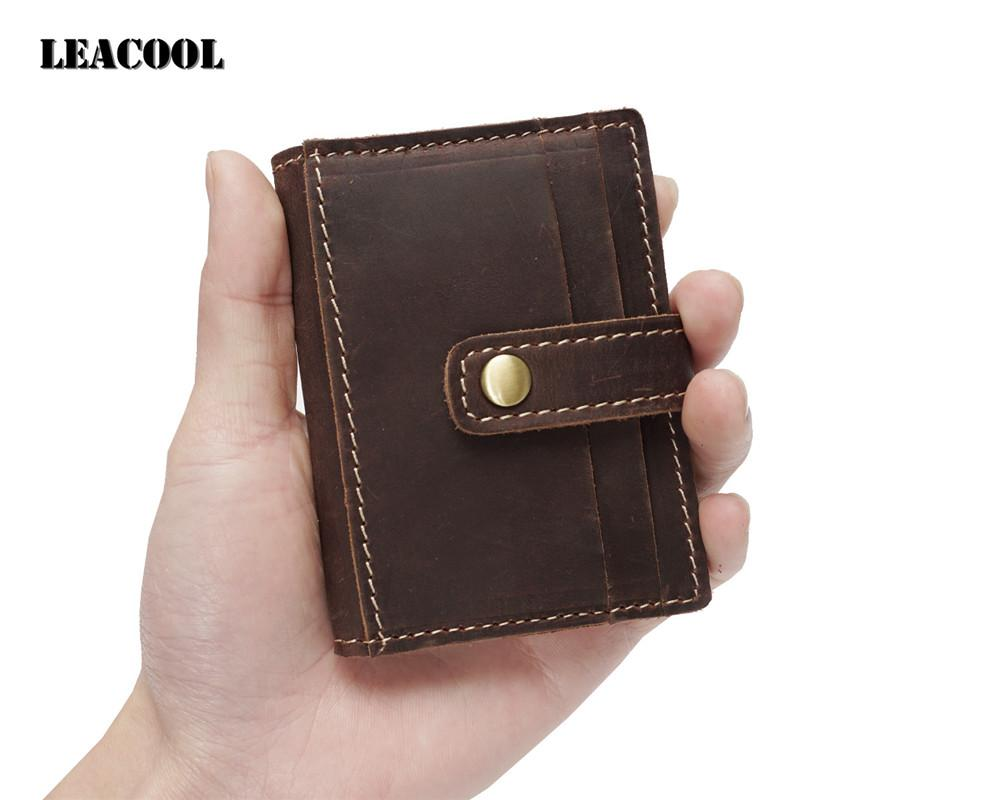 e6eef09fa454 Genuine Leather Handmade Miniature Mens Wallet Money Id Holder Case Compact  Retro Crazy Horse Leather Card Holder
