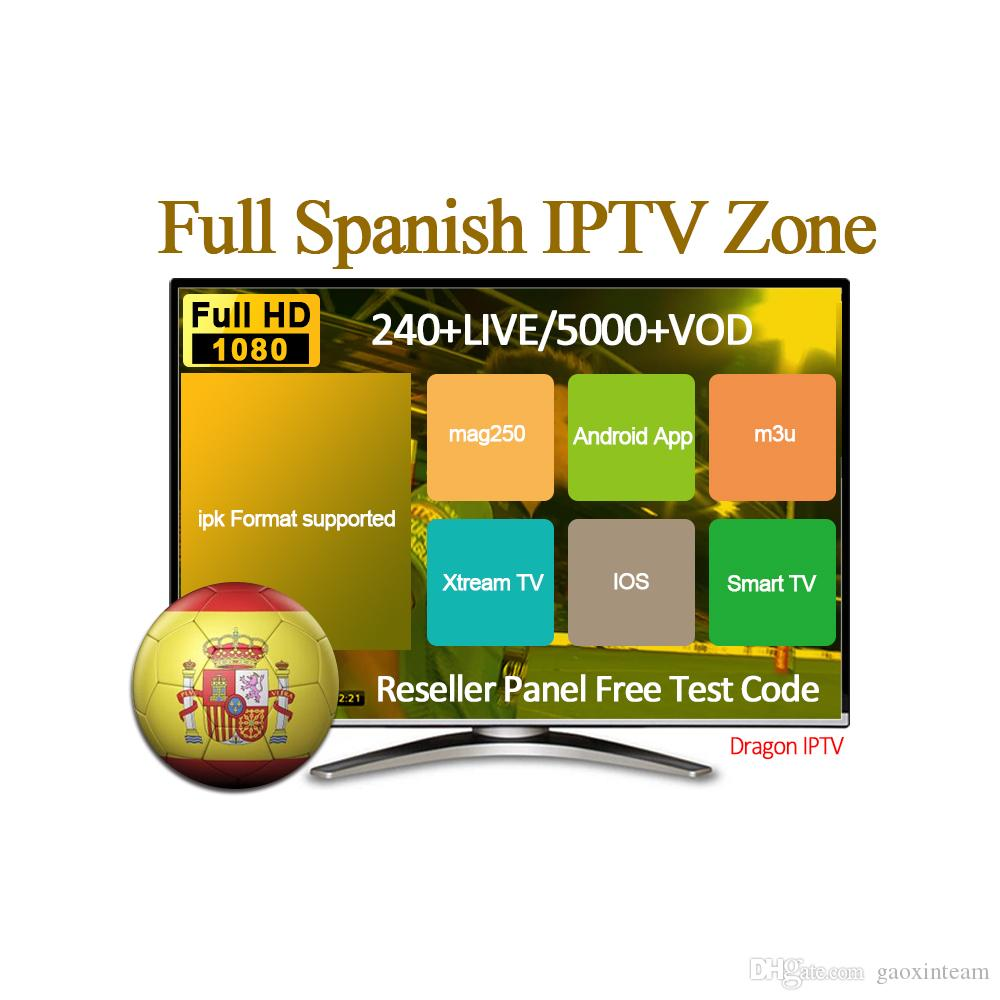 Spain IPTV Subscription 4k HD 240+ Live and Free VOD For m3u Smart TV  Android TV BOX IOS Spainish IPTV Reseller Panel