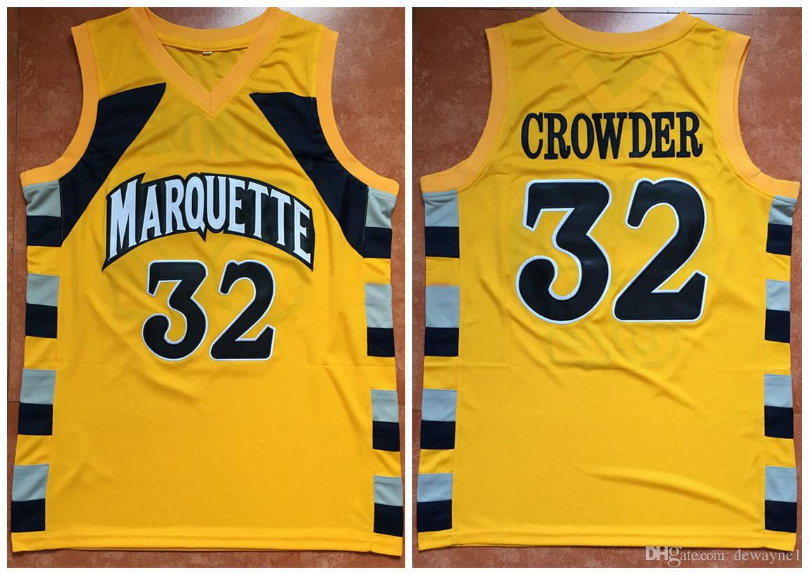 100% authentic d83cc 1802d 2012-13 Fleer Retro #32 Jae Crowder Marquette Golden Eagles college Yellow  Basketball Jersey Mens Stitched Custom Number and name Jerseys