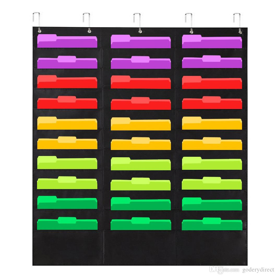 Wall File pocket folder organizer with 30 pocket plus 5 Hangers Hooks, The Perfect Pocket Chart for Classroom, School, Office or Home Use