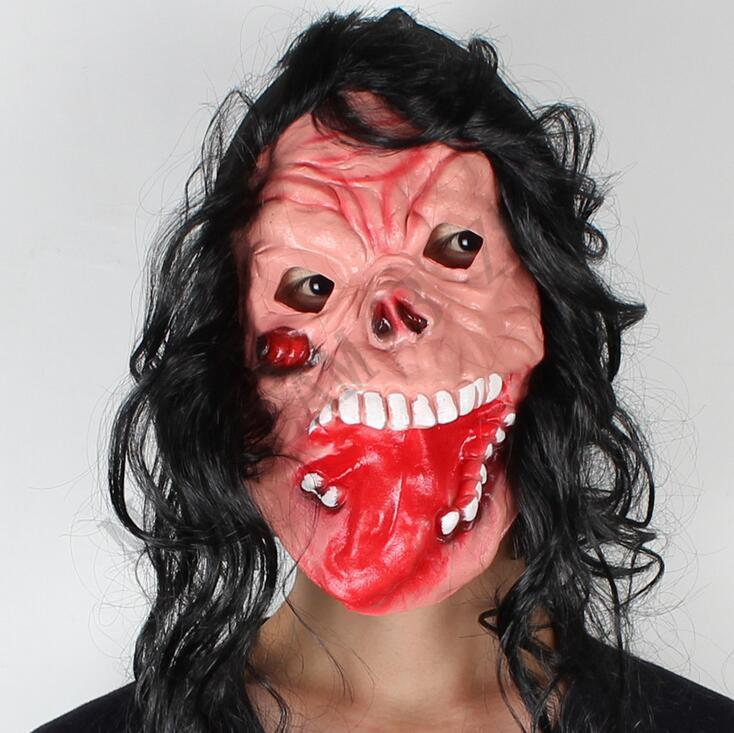 Halloween gruselige Tier Prop Latex Party Maske Unisex beängstigend Schwein Kopf Maske King Kong Orang-Utan Halloween beängstigend Maske mit schwarzen Haaren