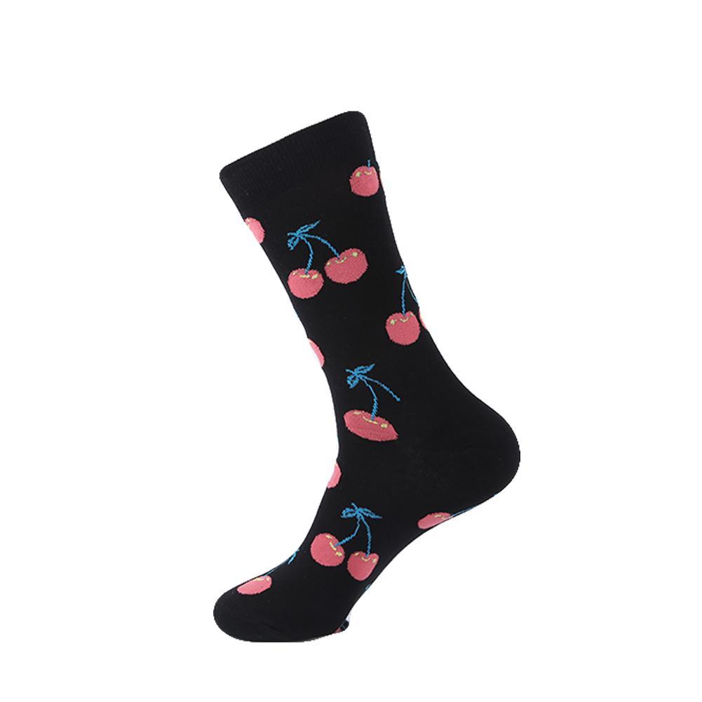 YEADU Men's Funny Socks Cotton Black Fruit Lemon Series Socks For Men Causal Dress Bright Multi-Color Wedding Gift