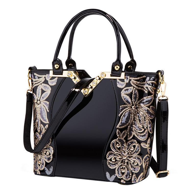 European American Style Luxury Sequin Top Handle Bags Embroidery Women  Leather Handbag Diamond Shoulder Messenger Totes Hand Bag Ivanka Trump Handbags  Best ... 7cc02e5b76021