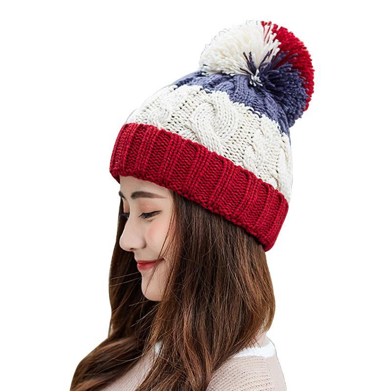 f23fca45f23 2018 Women S Hats Add Velvet Fleece Inside Beanies Winter Hats For Women  Thick Knit Pompom Hat Female Twist Hair Ball Caps Mens Beanies Custom  Beanies From ...