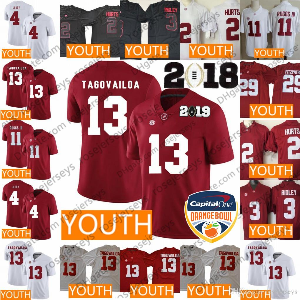 4c138fd68 Youth Alabama Crimson Tide  13 Tua Tagovailoa 2 Hurts 4 Jeudy 11 Ruggs  Ridley Fitzpatrick Henry Red White Black 2019 NCAA Kids Jerseys UK 2019  From ...