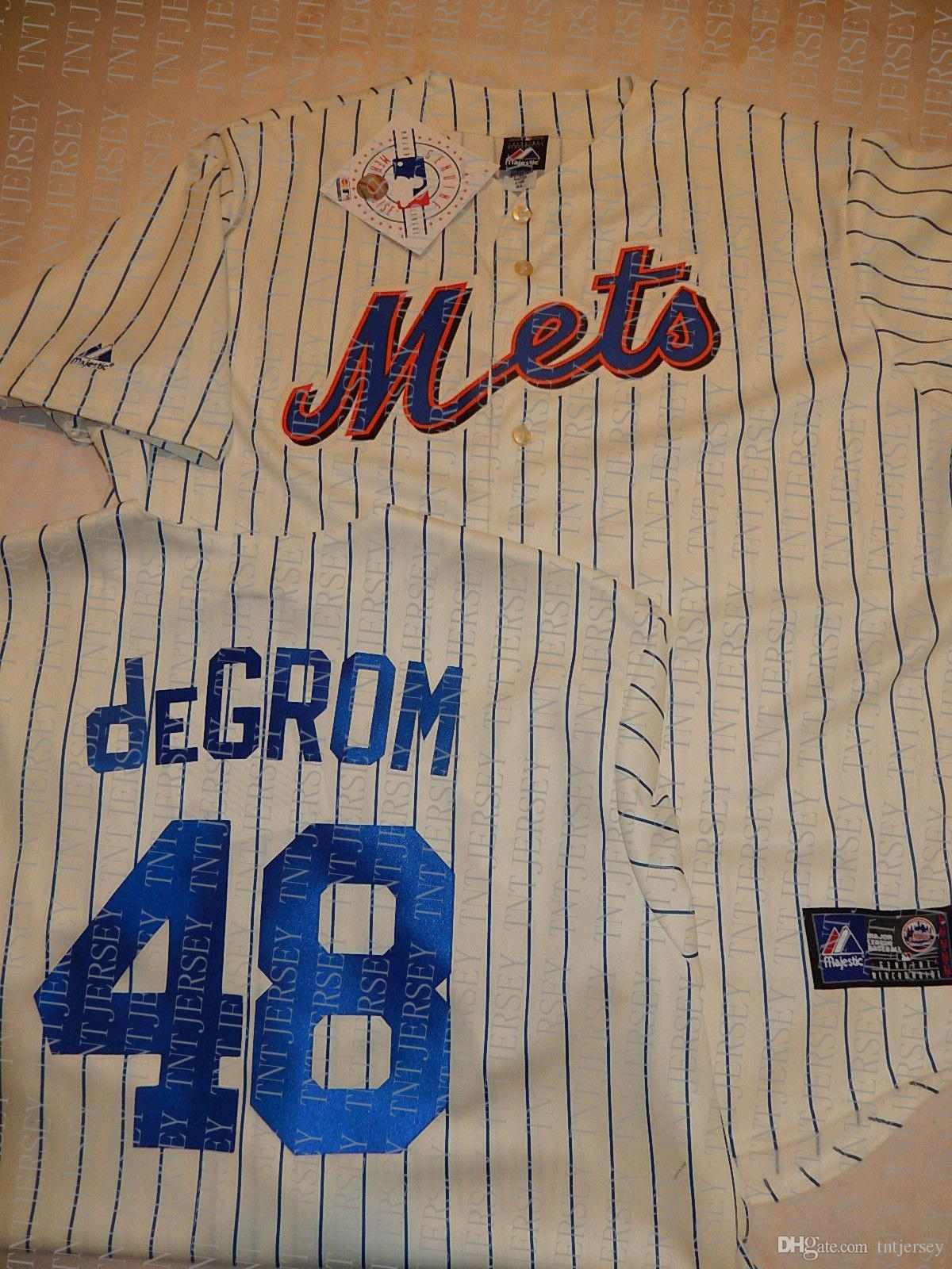 100% embroidery custom JACOB DeGROM Jerseys CREME NEW Stitch customize any number name MEN Jerseys XS-5XL NCAA JERSEY