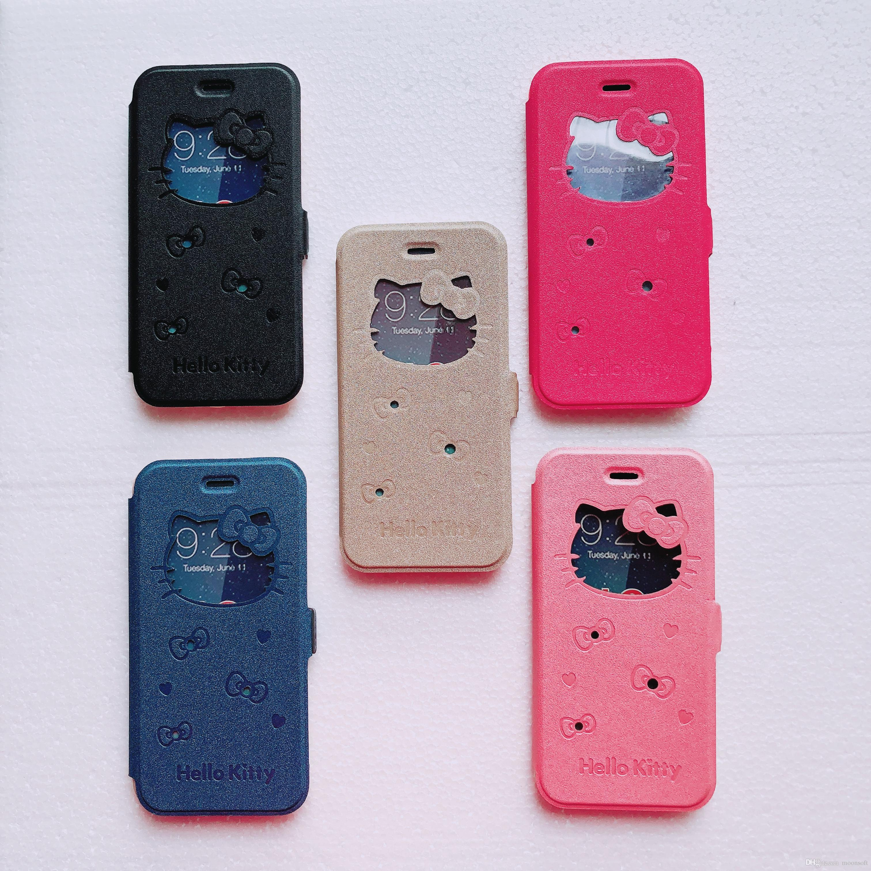 885ef1262 For IPhone 6 6S Plus PU Leather Flip Cell Phone Case Cover Shell With View  Window Hello Kitty Cartoon And Kickstand Phone Case Uncommon Cell Phone  Cases ...