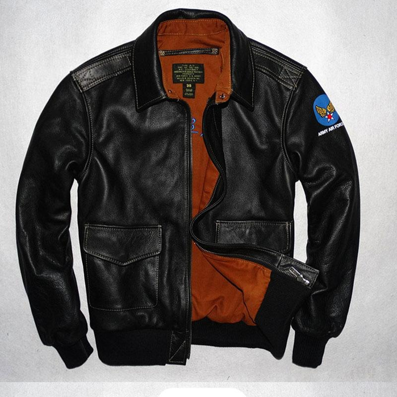 ff7cae04da3 A2 Men Genuine Leather Jacket Cow Skin Pilot Jackets Flight A2 ...