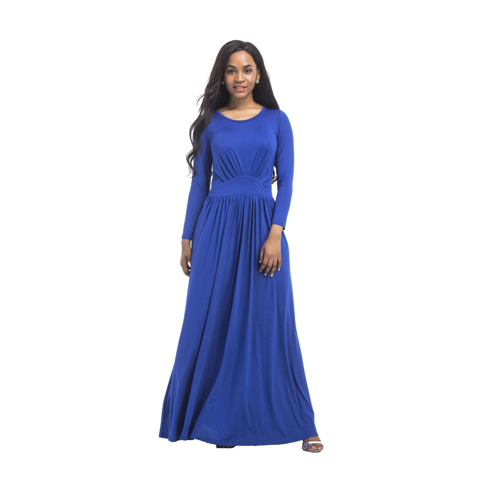 Women Long Dresses Loose Long Sleeve Autumn O Neck Casual Solid White Black Blue Party Beach Plus Size Maxi Dress