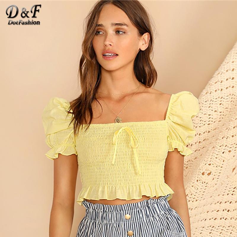 3cf0bdfff0cae 2019 Dotfashion Yellow Knot Front Puff Sleeve Ruffle Detail Smocked Blouse  Women 2019 Boho Summer Korean Fashion Slim Fit Crop Tops From Liumeiwan, ...
