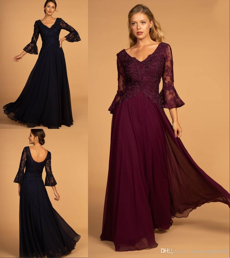e5d1f4ba6b216 Modest Dark Blue Wine Red Long Cheap Mother of the Bride Groom Dresses V  neck Backless Chiffon Beaded Sequins Juliet Sleeves Evening Gowns