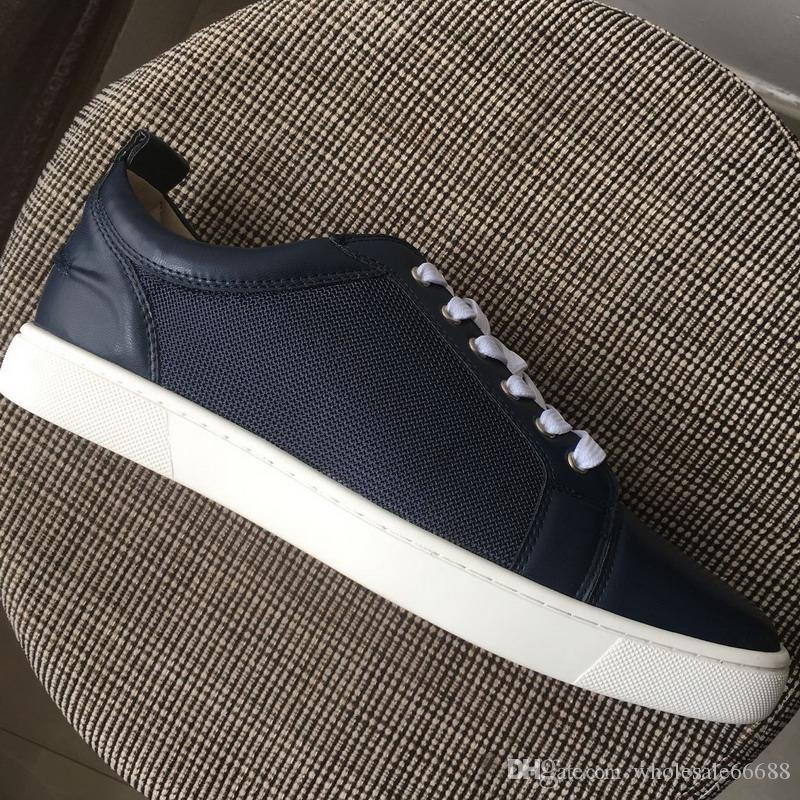 27aa3fb52e9770 New Designer Men Women Blue Leather with Blue Mesh Patchwork Low Top Red  Bottom Casual Shoes