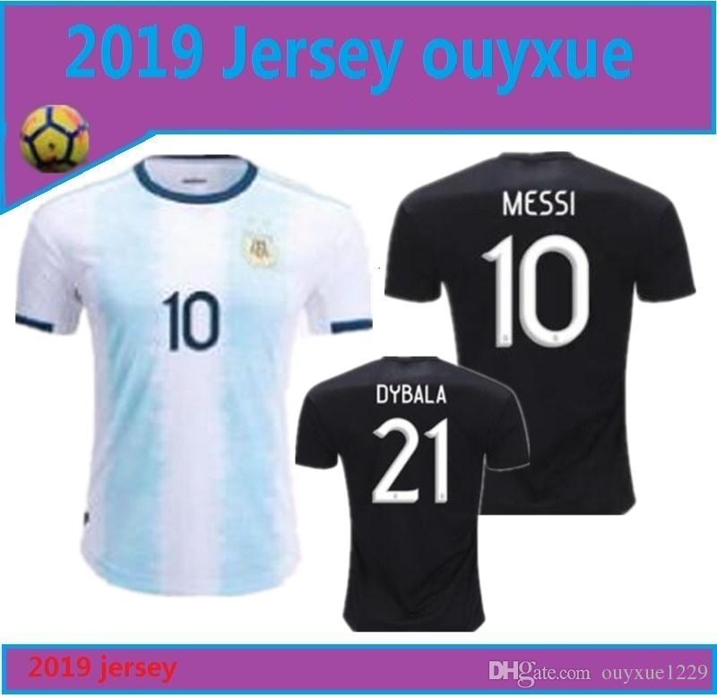 official photos a12f0 4ea05 2019 Argentina Soccer Jerseys Argentina Home soccer Shirt 2019 #10 MESSI #9  AGUERO #21DYBALA #11 DI MARIA away football uniform