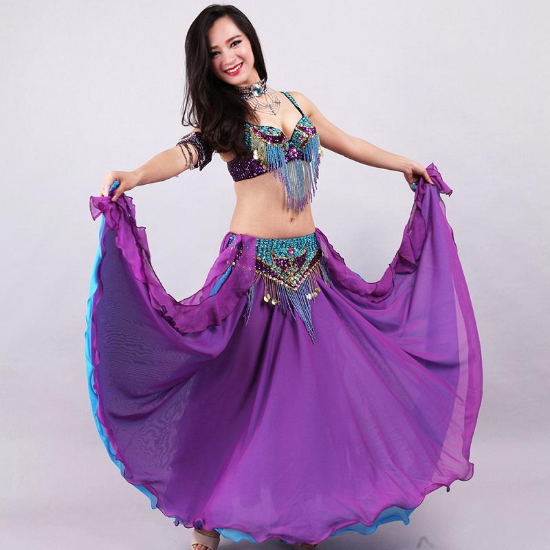 Women Belly Dance Costume Ladies National Stage Performance Clothes 5 Piece Bra + Belt +Skirt + Necklace Chain Armlet