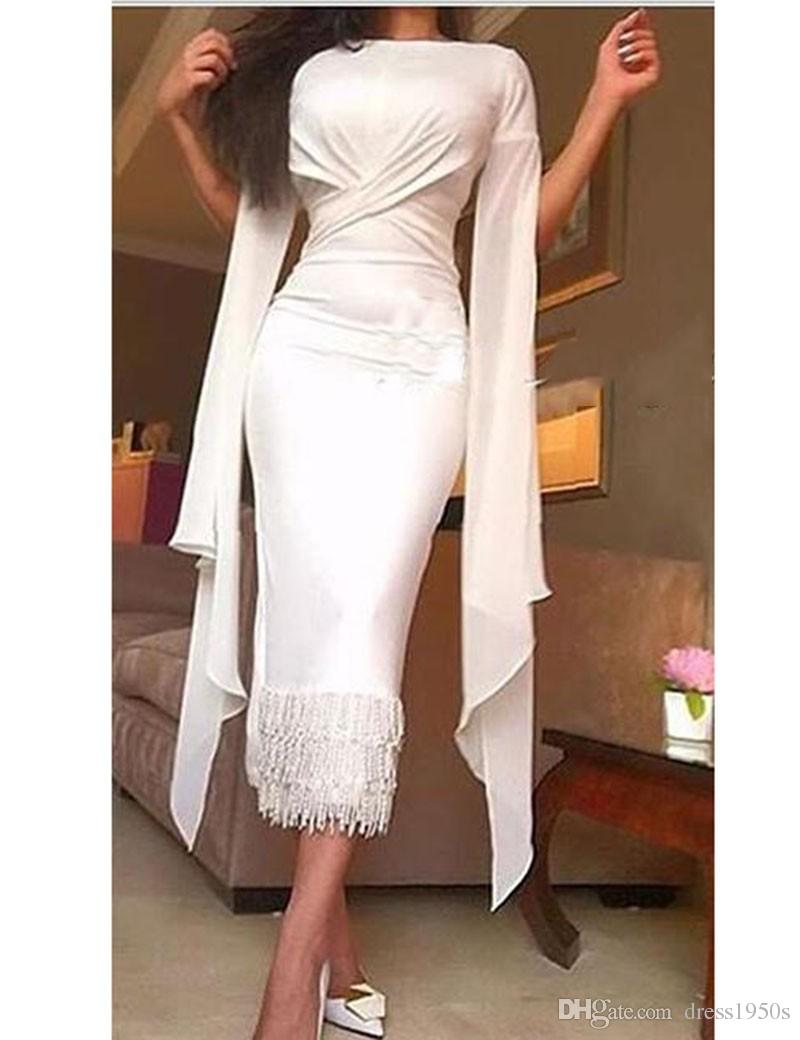 vestido Arabic Evening Gowns Criss Cross Pleated Prom Straight Bateau Short Sleeves Tea Length Gowns