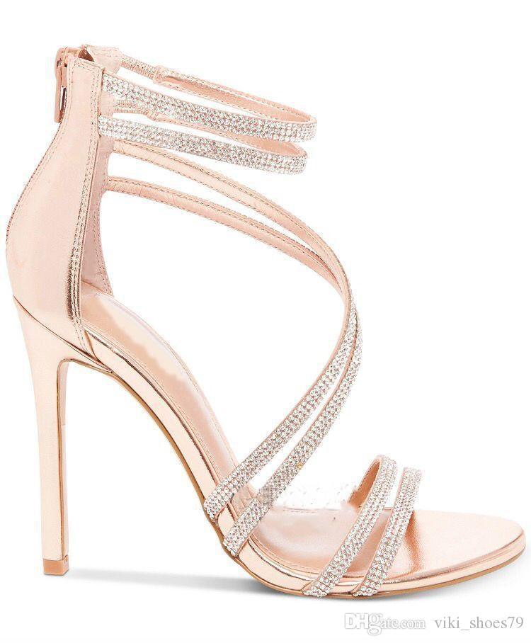 6caf40c0 Compre 2019 Más Nuevos Zapatos De Moda Sandalias De Mujer Peep Toes Tobillo  Correa Sandalias Tacones De Aguja Zapatos De Mujer Rhinestone Sandalia De  Tacón ...