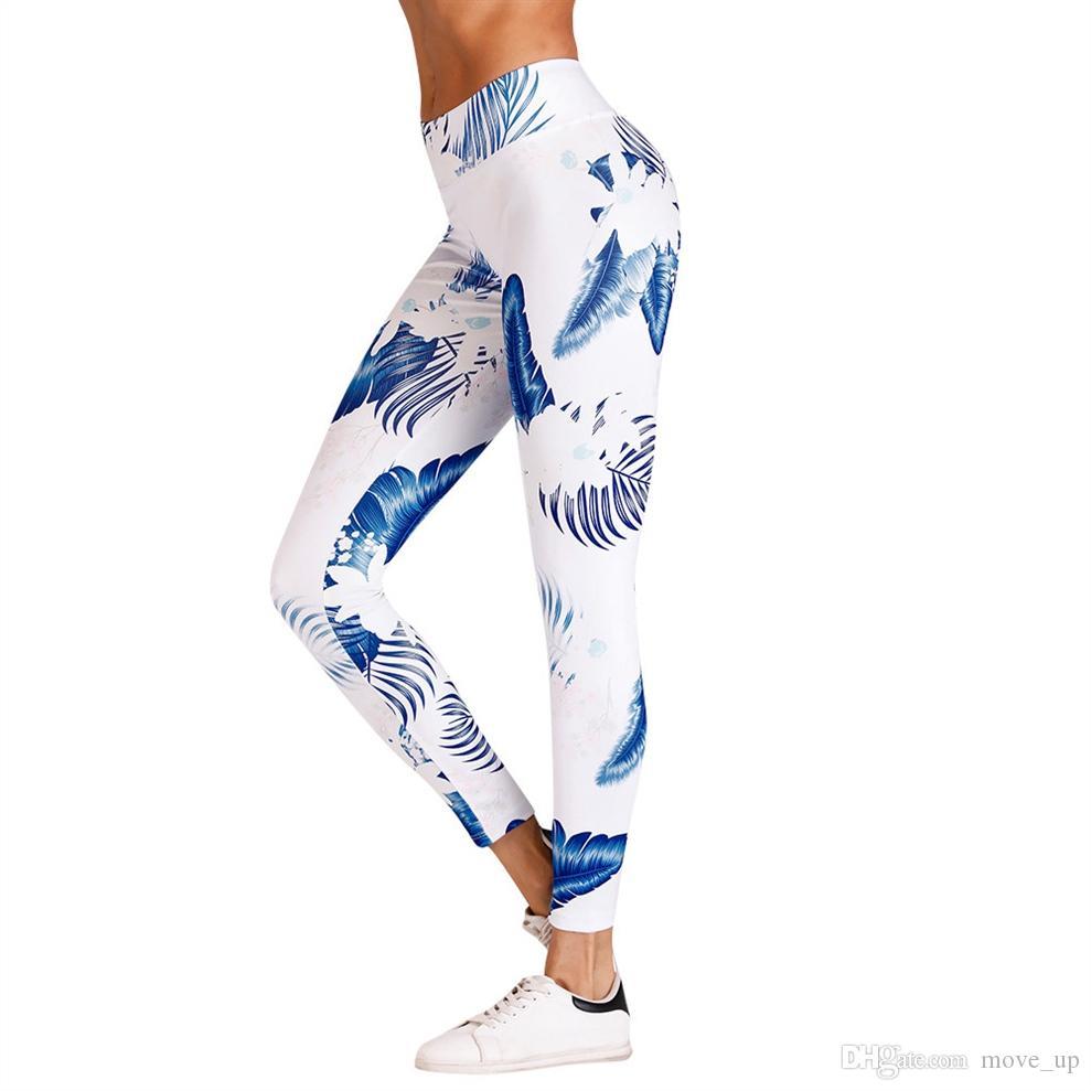 6b2a8e5d588 2019 Women Leaf Printed Yoga Pants Sweatpants Leggings Mid Waist Push Up  Print Sport Pants Fitness Elasticity Yoga Legging #340670 From Move_up, ...