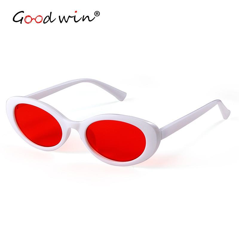 f083f882d30e7 Compre Oval Óculos De Sol Das Mulheres Designer De Marca Branco Moldura  Preta Pequenas Do Vintage Vermelho Tons Mulheres Óculos De Sol Retro  Lunette De ...