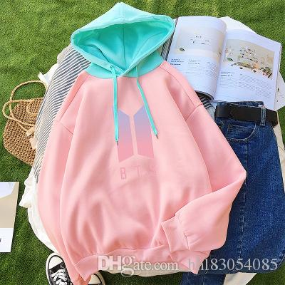 BTS Women Hoodies Pastel Color Block New Fashion Bangtan Boys Fans Kpop  Sweatshirts Kawaii Moleton Pink Korean Coreano Sudaderas UK 2019 From  Hhl83054085 cef7d5b46