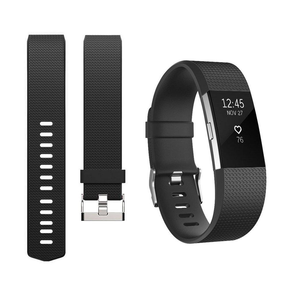 For Fitbit Charge 2 Band Silicone Rubber Smart Sport Fitness Watch Wrist  Strap For Fitbit Charge 2 Wristband Black Color