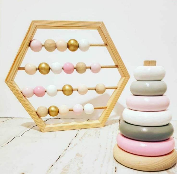 Craft bebê Early Learning Brinquedos Educativos escandinavo Estilo Bebê Room Decor New Nordic Estilo Natural Wooden Abacus com contas