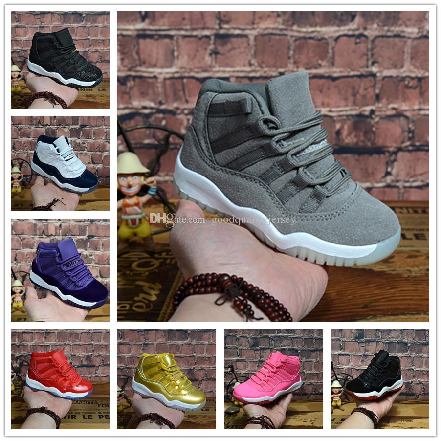 pretty nice 54ee1 7b26b Acheter Nike Air Jordan Aj11 28 35 Enfants Baskets Chaussures De Basket  Enfants Garçons Filles Noir Rouge Blanc Jeunesse Enfants 11 11s Sport  Chaussures De ...