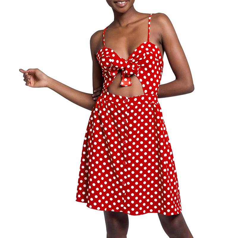Sexy Women Sleeveless Polka Dot Dress Front Knot Cutout Summer Strappy Dress Button Pocket Backless Club Party Slip Dresses 2018