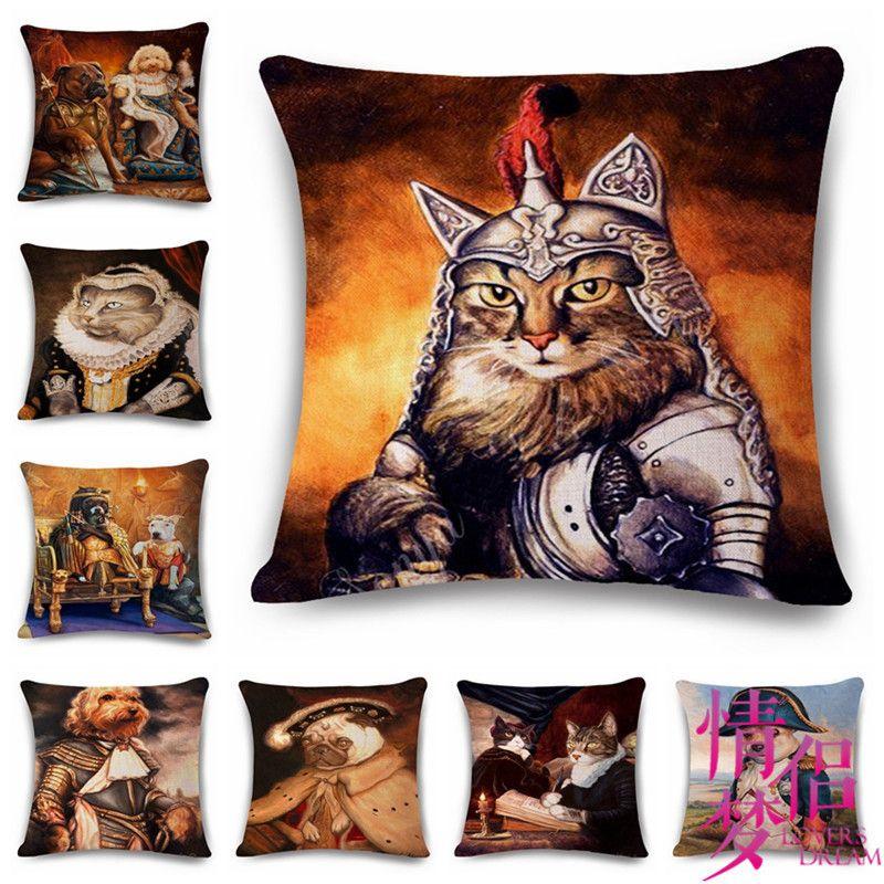 Hand Animal Portrait Cotton Flax Pillow Back Cushion Cushion Ebay Heat Sell