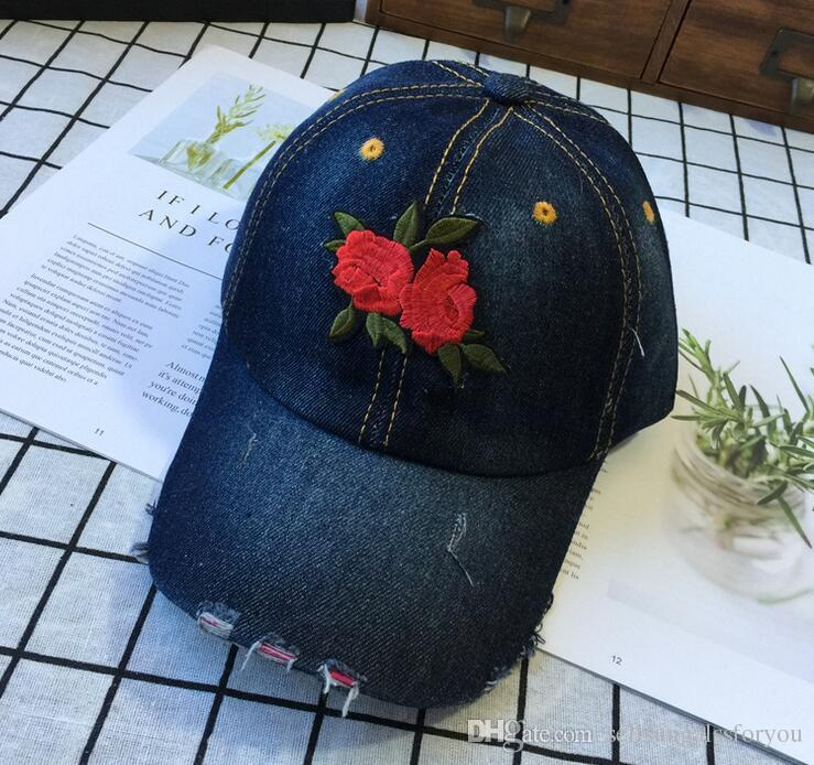 50a19d1b9 Womens Dad Hats Women Cowboy Hat Flexfit Caps Denim Hat Embroidery Cool  Snapback Hats Adjustable Snapback Fashion Hats for Ladies