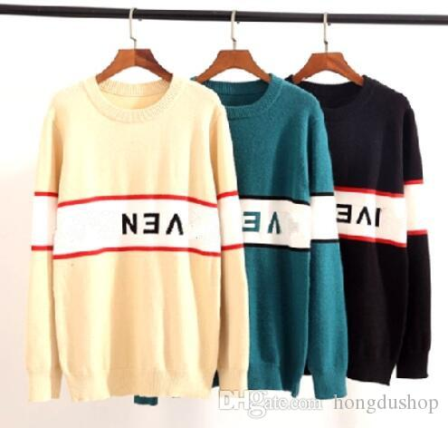 2019 new sweater coat letter mirror reversed jacquard sweater T-shirt knit high quality letter embroidery sweater