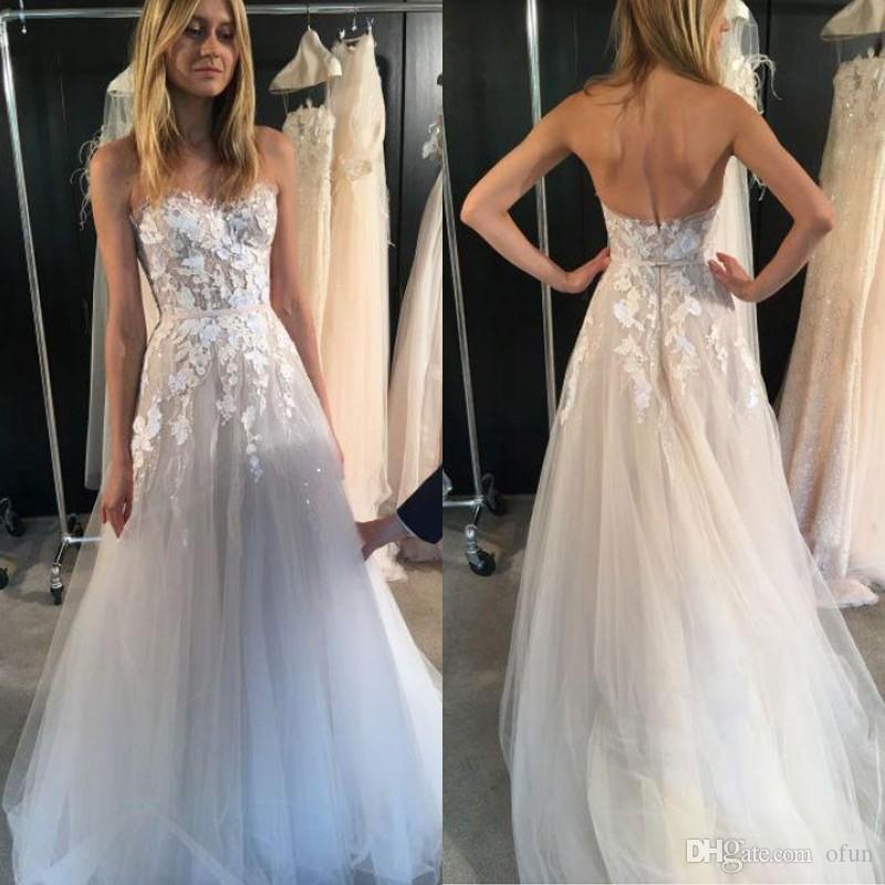 4e42764e916e3 Discount Sexy See Through Tulle Beach Wedding Dress Strapless Sweetheart  Neck Backless Bridal Gown With Appliques Lace Sequins A Line Gowns A Line  Princess ...