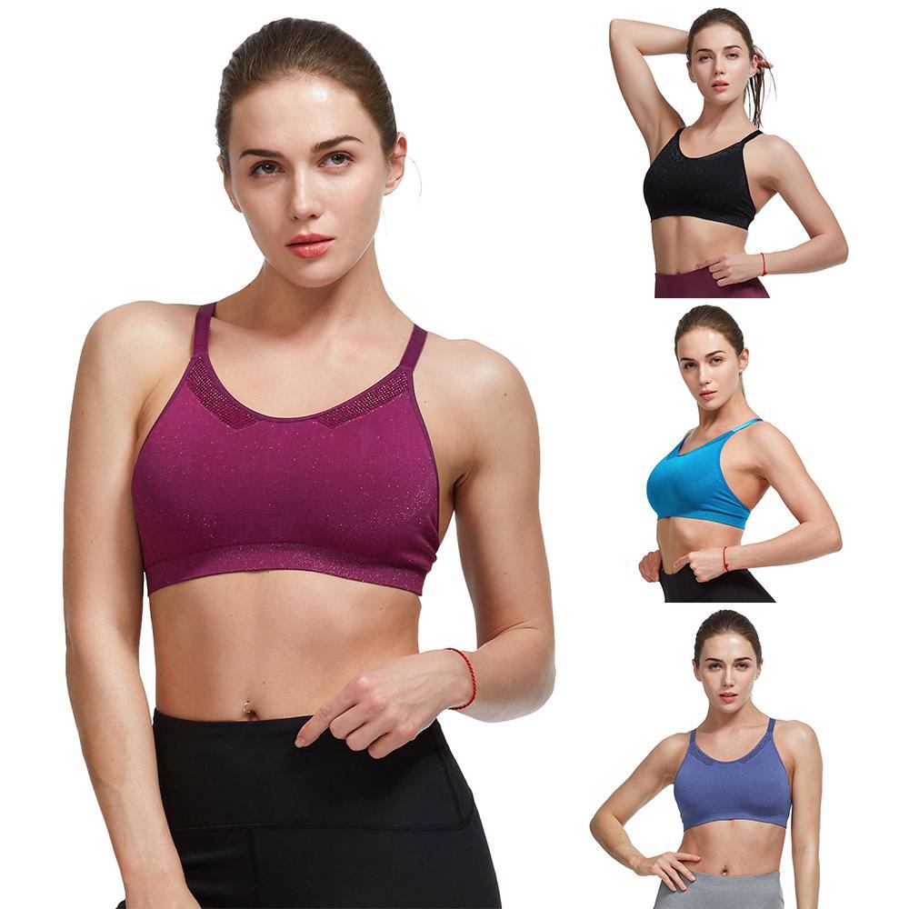 887648cd24b07 Belleziva Sports Bra Push Up Top Fitness Yoga Cross Strap Women Gym ...