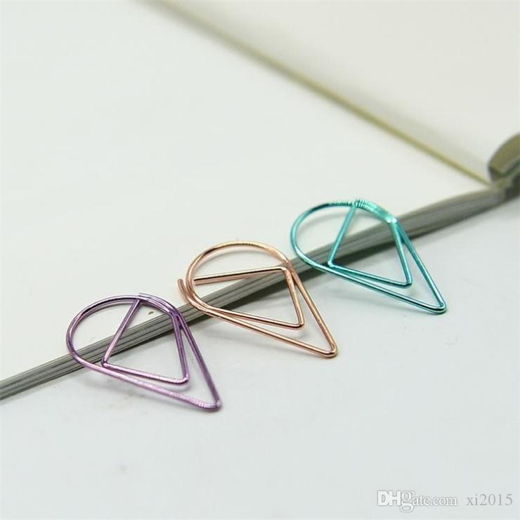 Teardrop Binder Clips Plating Spring Steel Metal Modeling Paper Bookmark Memo Clips Filing Supplies Wholesale W9699