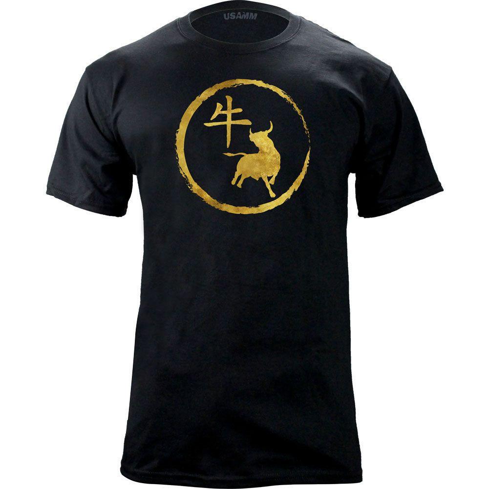 Original Chinese Zodiac Ox T-Shirt Short Sleeve Plus Size T-shirt Jersey  Print T-shirt