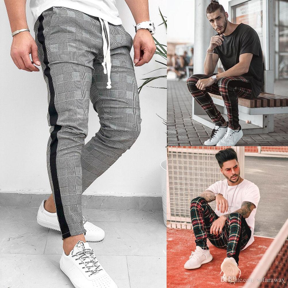 Fashion Mens Pants Hip Hop Korean Stylish Plaid Slacks Casual SFitness Workout Skinny port Pants trousers Hot