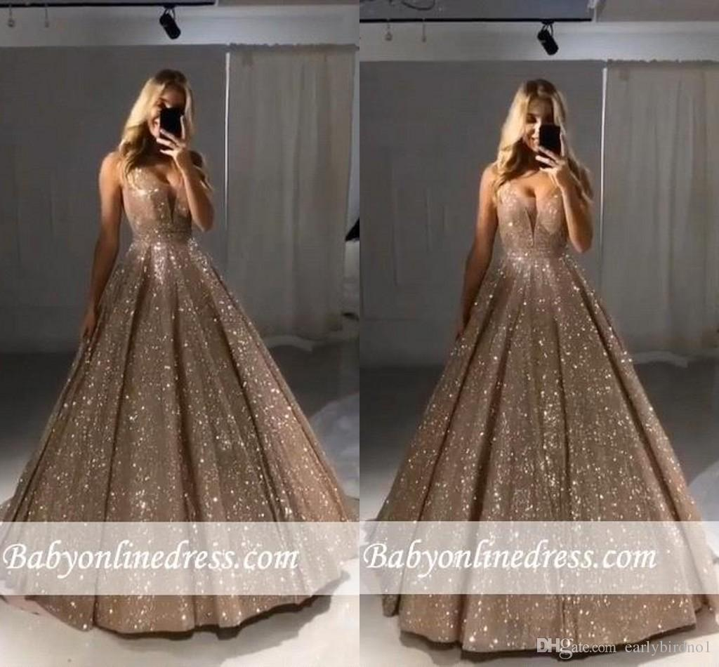 efab5ececce 2019 New Shiny Gold Ball Gown Evening Dresses Sexy V Neck Sequins A Line  Long Party Prom Dresses BC0412 Evening Dresses For Cheap Evening Dresses  For Older ...