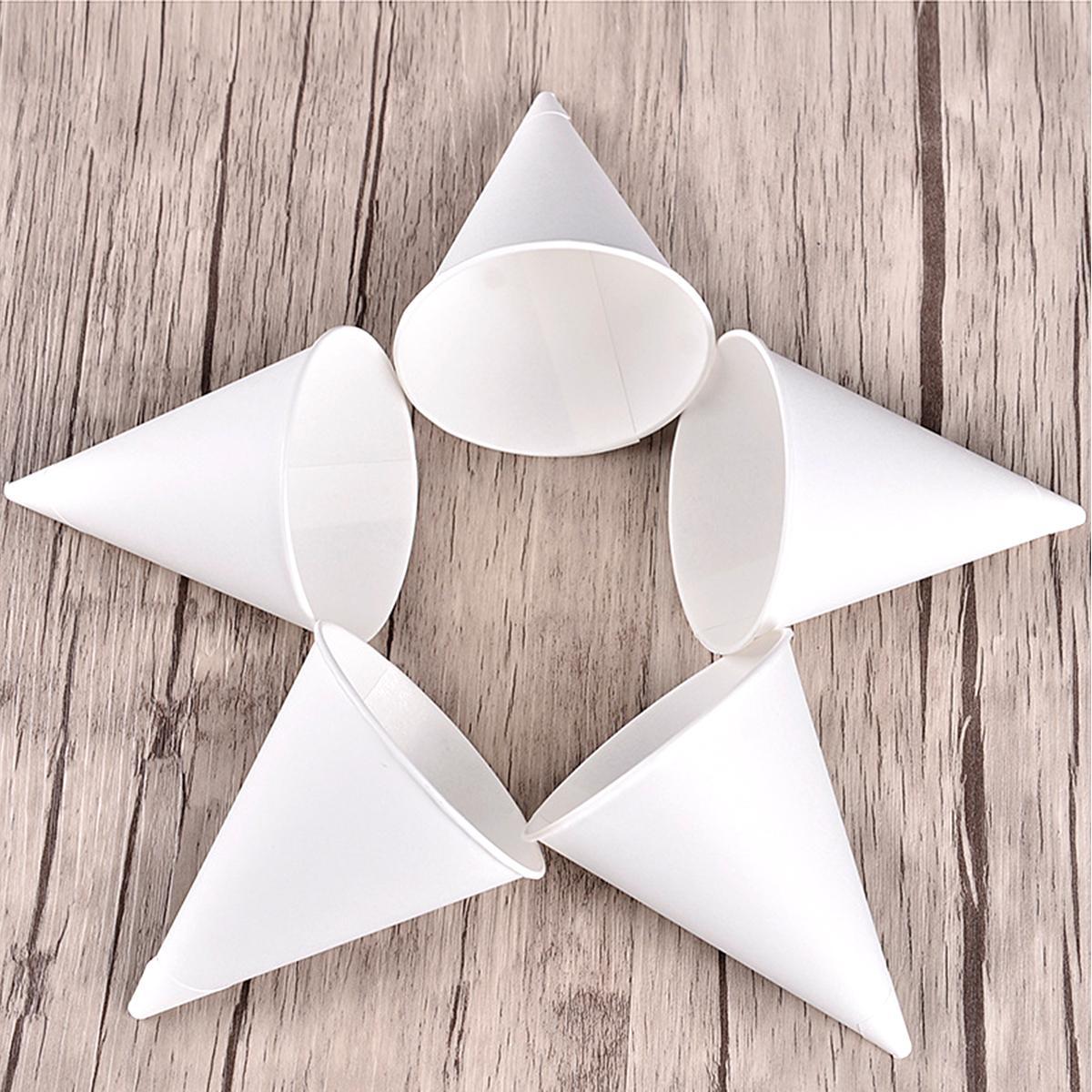 1000шт 3.7oz Одноразовые стаканчики для воды с конусом Бумажные воронки для стаканчиков для снега - белый