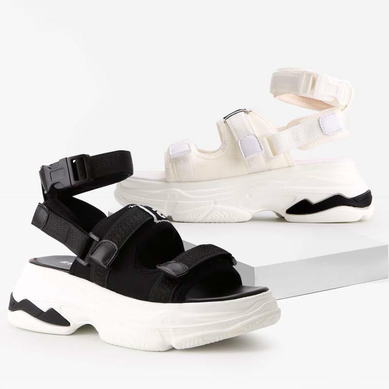cfe98a4059bf1e Satın Al 2018 Yaz Moda Marka Kız Beyaz Sandalet Platformu Ayakkabı Kadın  Rahat Takozlar Kadın Bayan Yumuşak Sandalet Siyah Peep Toe, $71.36 |  DHgate.Com'da