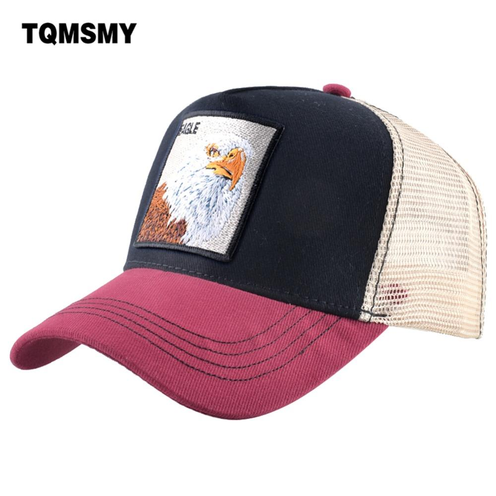 3c602bf7a4a0c TQMSMY Spring Summer Mesh Trucker Hat For Men Women Embroidery Eagle Cotton Trucker  Hat Snapback Hats Baseball Caps Hats DHYT Cap Rack Caps From ...