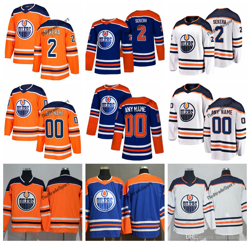 44ce00b2ea8 2019 2019 Customize Edmonton Oilers Andrej Sekera Hockey Jerseys Cheap Mens  New Blue Orange 2 Andrej Sekera Stitched Jerseys Shirts S XXXL From ...