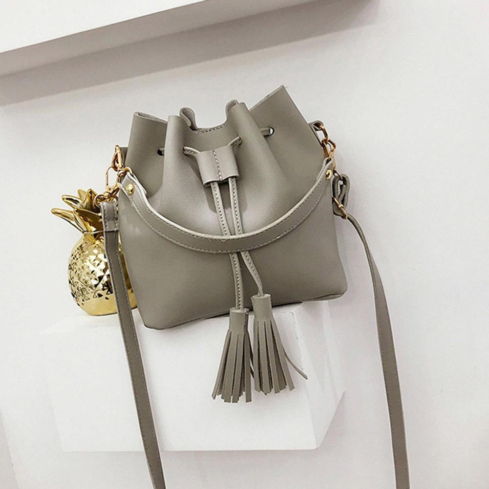 2b9e326669f Women Bucket Bag Handbag Tassel Drawstring Small Messenger Pu ...